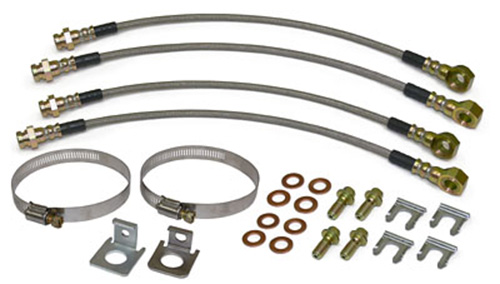 Disc Brake Hose Set, Front and Rear, Stainless Steel