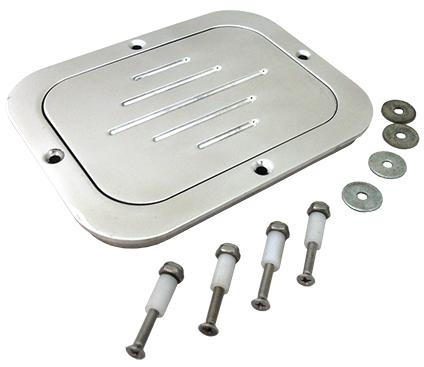 Fuel Tank and Master Cylinder Access Door, Billet Aluminum, Polished, Rectangular