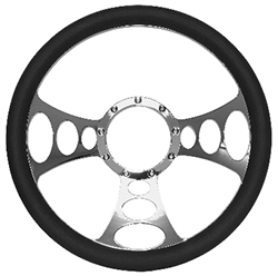 Billet Orbitor Style Steering Wheel Chrome with Black Grip