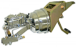 1953-56 Ford F100 Truck Firewall Mount Power Brake Booster Kit - Chrome